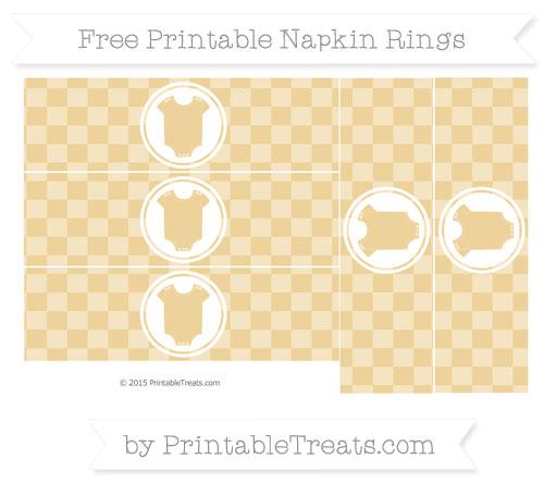 Free Pastel Bright Orange Checker Pattern Baby Onesie Napkin Rings