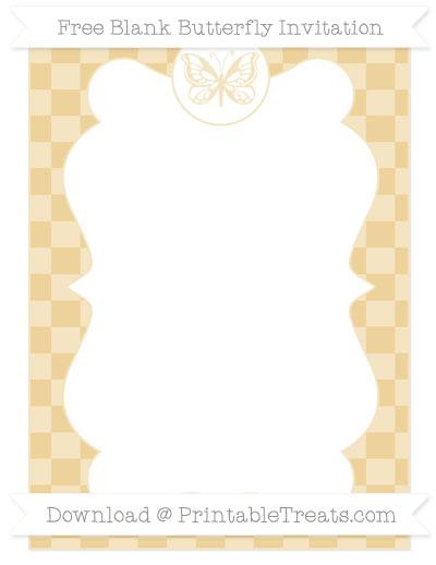 Free Pastel Bright Orange Checker Pattern Blank Butterfly Invitation