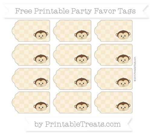 Free Pastel Bright Orange Checker Pattern Boy Monkey Party Favor Tags