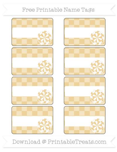 Free Pastel Bright Orange Checker Pattern Cheer Pom Pom Tags