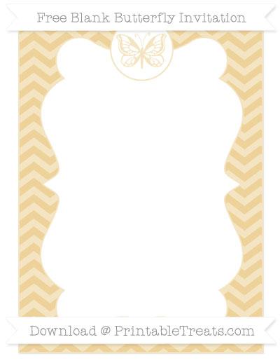 Free Pastel Bright Orange Chevron Blank Butterfly Invitation