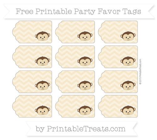 Free Pastel Bright Orange Chevron Boy Monkey Party Favor Tags