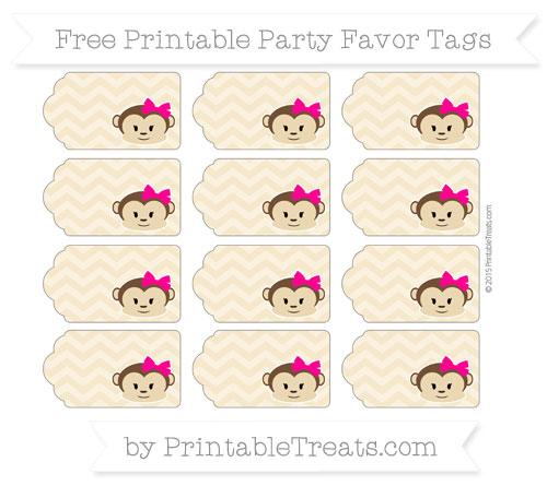 Free Pastel Bright Orange Chevron Girl Monkey Party Favor Tags