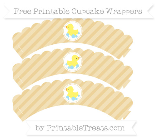Free Pastel Bright Orange Diagonal Striped Baby Duck Scalloped Cupcake Wrappers