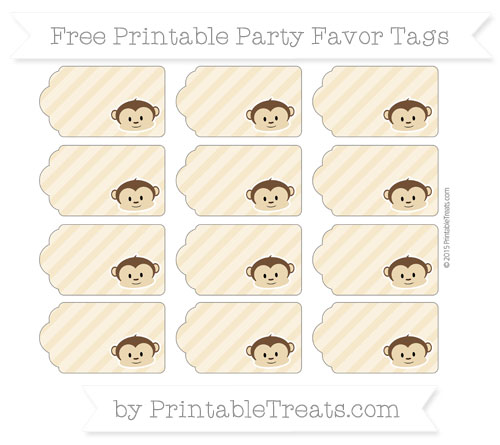 Free Pastel Bright Orange Diagonal Striped Boy Monkey Party Favor Tags