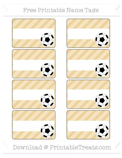 Free Pastel Bright Orange Diagonal Striped Soccer Name Tags