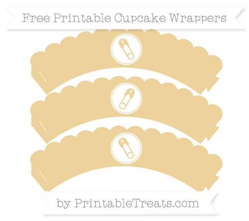 Free Pastel Bright Orange Diaper Pin Scalloped Cupcake Wrappers