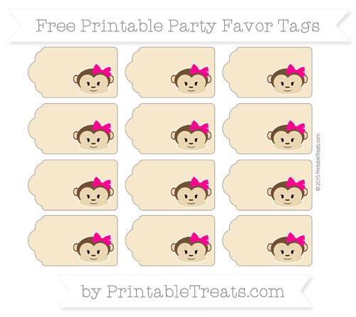 Free Pastel Bright Orange Girl Monkey Party Favor Tags
