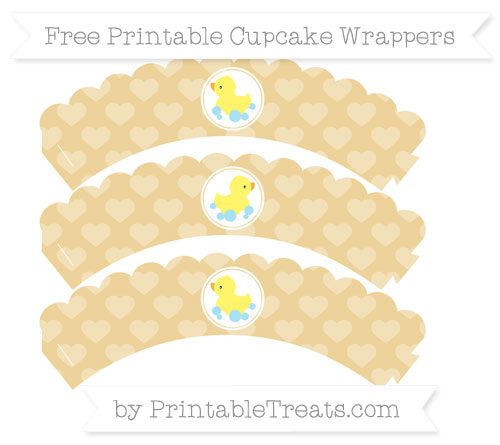 Free Pastel Bright Orange Heart Pattern Baby Duck Scalloped Cupcake Wrappers
