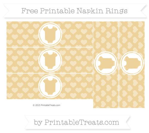 Free Pastel Bright Orange Heart Pattern Baby Onesie Napkin Rings