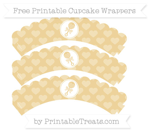 Free Pastel Bright Orange Heart Pattern Baby Rattle Scalloped Cupcake Wrappers