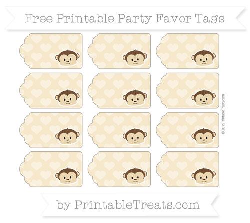 Free Pastel Bright Orange Heart Pattern Boy Monkey Party Favor Tags