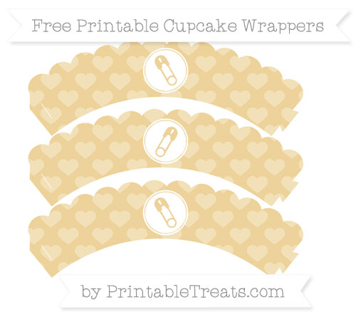 Free Pastel Bright Orange Heart Pattern Diaper Pin Scalloped Cupcake Wrappers