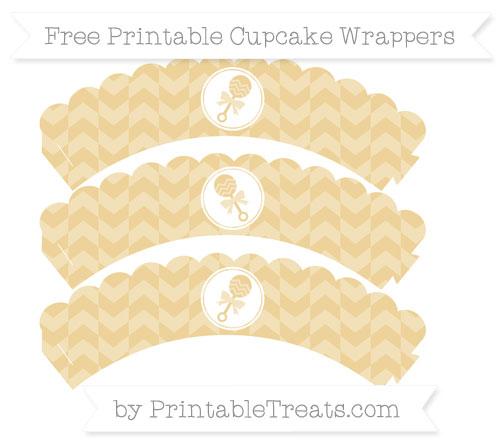 Free Pastel Bright Orange Herringbone Pattern Baby Rattle Scalloped Cupcake Wrappers