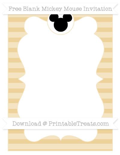 Free Pastel Bright Orange Horizontal Striped Blank Mickey Mouse Invitation