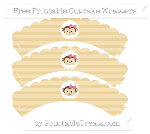 Free Pastel Bright Orange Horizontal Striped Girl Monkey Scalloped Cupcake Wrappers
