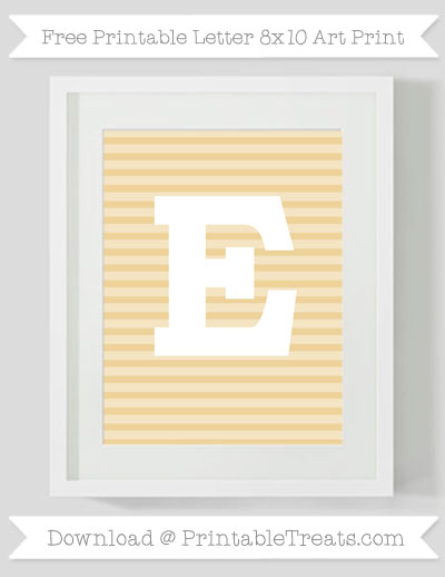Free Pastel Bright Orange Horizontal Striped Letter E 8x10 Art Print