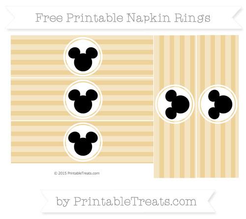 Free Pastel Bright Orange Horizontal Striped Mickey Mouse Napkin Rings