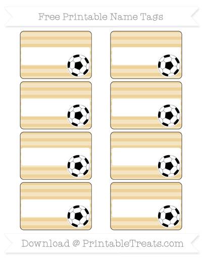 Free Pastel Bright Orange Horizontal Striped Soccer Name Tags