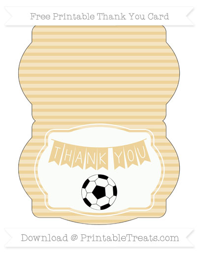 Free Pastel Bright Orange Horizontal Striped Soccer Thank You Card