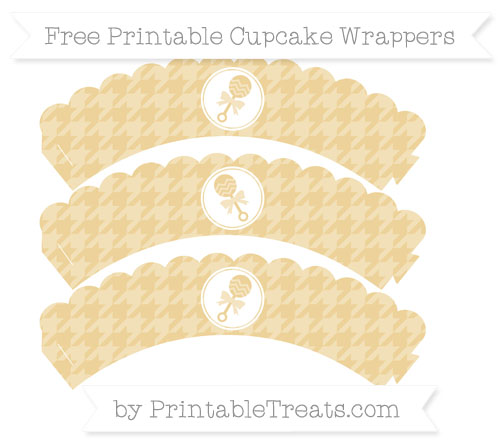 Free Pastel Bright Orange Houndstooth Pattern Baby Rattle Scalloped Cupcake Wrappers