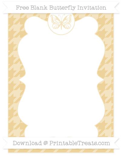 Free Pastel Bright Orange Houndstooth Pattern Blank Butterfly Invitation