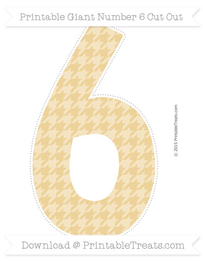 Free Pastel Bright Orange Houndstooth Pattern Giant Number 6 Cut Out