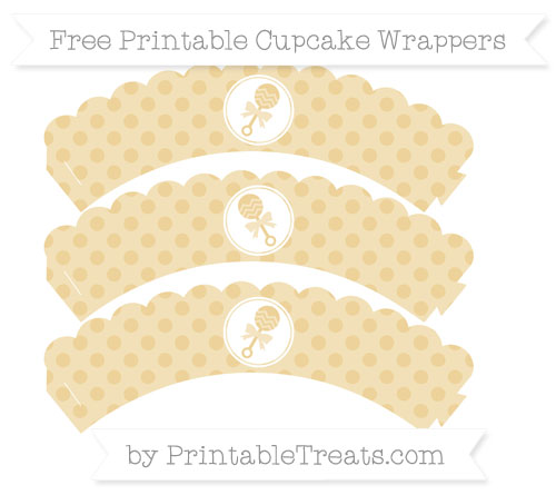 Free Pastel Bright Orange Polka Dot Baby Rattle Scalloped Cupcake Wrappers