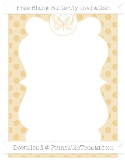 Free Pastel Bright Orange Polka Dot Blank Butterfly Invitation
