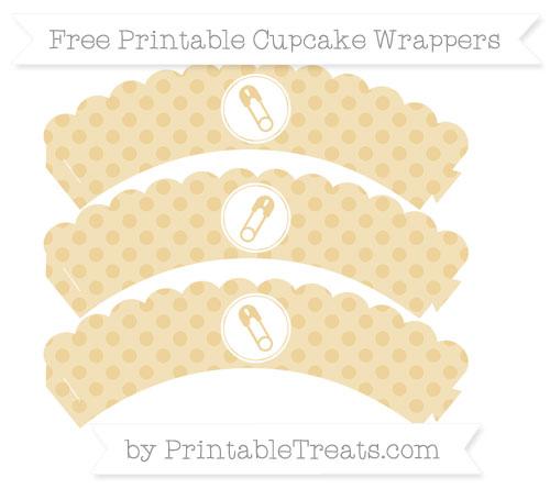 Free Pastel Bright Orange Polka Dot Diaper Pin Scalloped Cupcake Wrappers