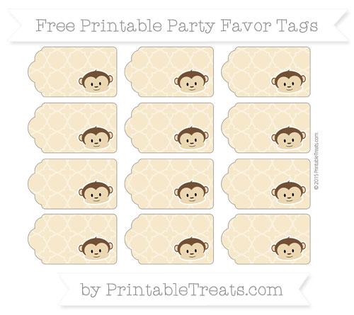 Free Pastel Bright Orange Quatrefoil Pattern Boy Monkey Party Favor Tags