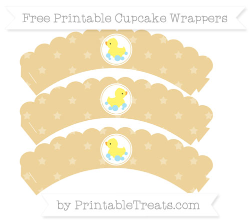 Free Pastel Bright Orange Star Pattern Baby Duck Scalloped Cupcake Wrappers