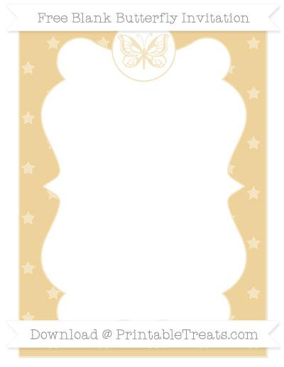 Free Pastel Bright Orange Star Pattern Blank Butterfly Invitation