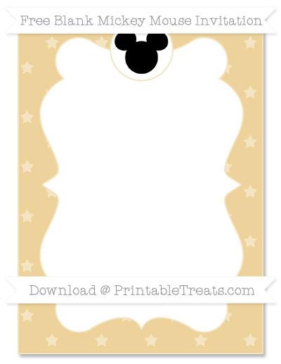 Free Pastel Bright Orange Star Pattern Blank Mickey Mouse Invitation