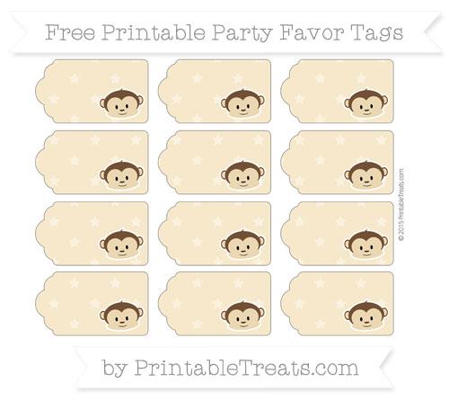 Free Pastel Bright Orange Star Pattern Boy Monkey Party Favor Tags