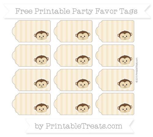 Free Pastel Bright Orange Striped Boy Monkey Party Favor Tags