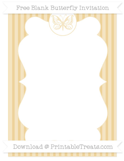 Free Pastel Bright Orange Thin Striped Pattern Blank Butterfly Invitation