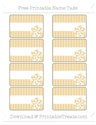 Free Pastel Bright Orange Thin Striped Pattern Cheer Pom Pom Tags