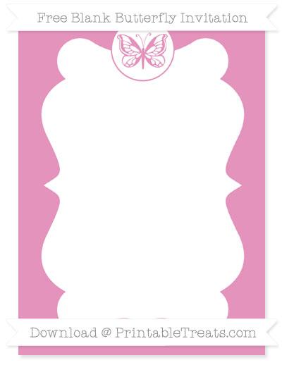 Free Pastel Bubblegum Pink Blank Butterfly Invitation