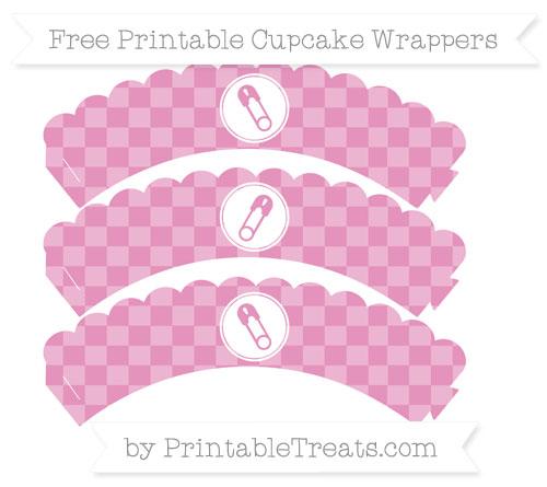 Free Pastel Bubblegum Pink Checker Pattern Diaper Pin Scalloped Cupcake Wrappers