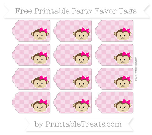 Free Pastel Bubblegum Pink Checker Pattern Girl Monkey Party Favor Tags