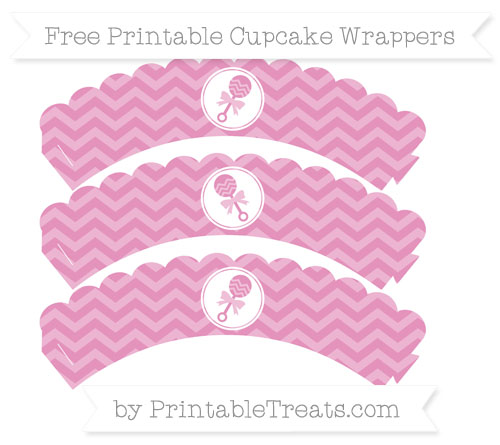 Free Pastel Bubblegum Pink Chevron Baby Rattle Scalloped Cupcake Wrappers