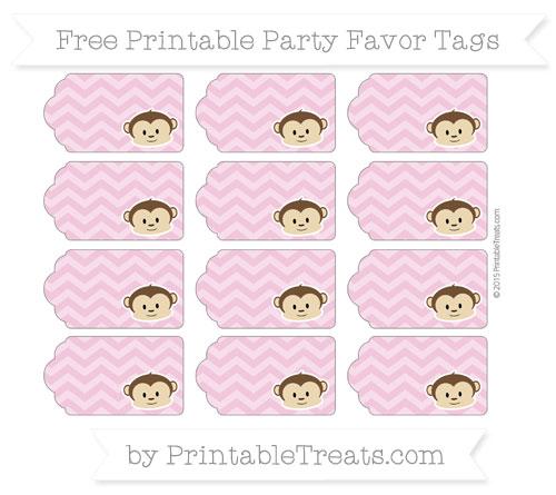 Free Pastel Bubblegum Pink Chevron Boy Monkey Party Favor Tags