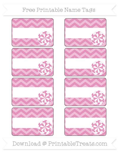 Free Pastel Bubblegum Pink Chevron Cheer Pom Pom Tags