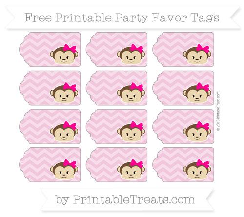Free Pastel Bubblegum Pink Chevron Girl Monkey Party Favor Tags