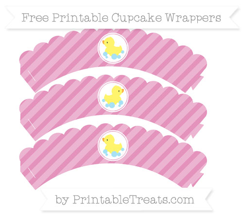 Free Pastel Bubblegum Pink Diagonal Striped Baby Duck Scalloped Cupcake Wrappers