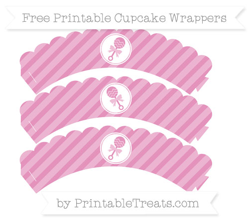 Free Pastel Bubblegum Pink Diagonal Striped Baby Rattle Scalloped Cupcake Wrappers