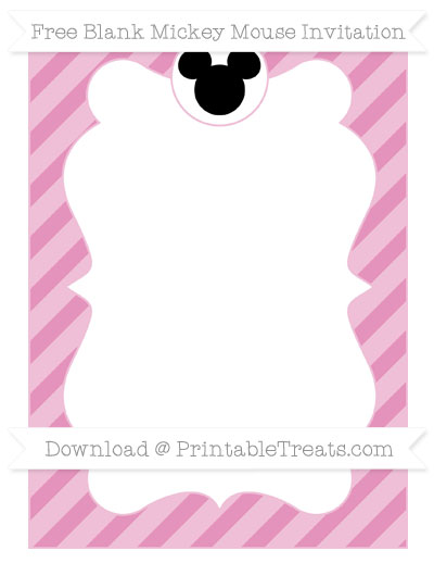 Free Pastel Bubblegum Pink Diagonal Striped Blank Mickey Mouse Invitation