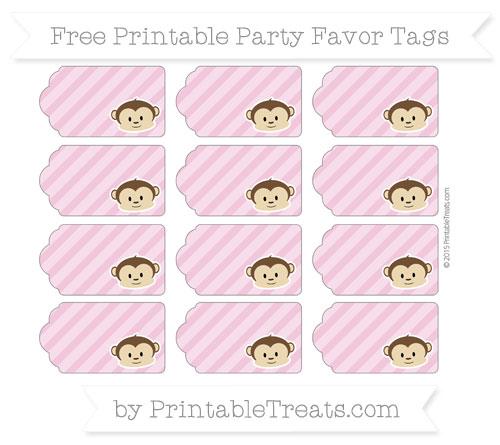 Free Pastel Bubblegum Pink Diagonal Striped Boy Monkey Party Favor Tags