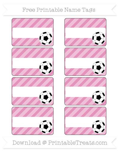 Free Pastel Bubblegum Pink Diagonal Striped Soccer Name Tags